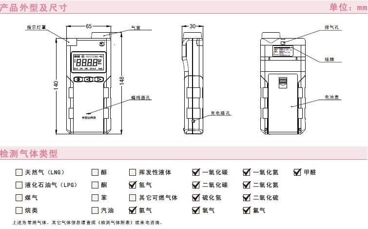扩散/泵吸式可选 ● 防爆等级为exdibiict6 ● 锂电池供电,超长