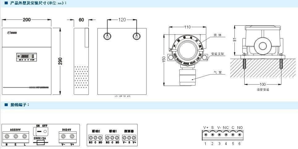 gn8050与本公司gn90000-b,gn90000-s,gn90000-f,gn90000-p气体报警器